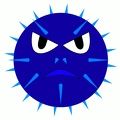 spikey angry blue smiley