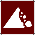 recreation sign falling rock zone