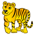 Tiger-coloured